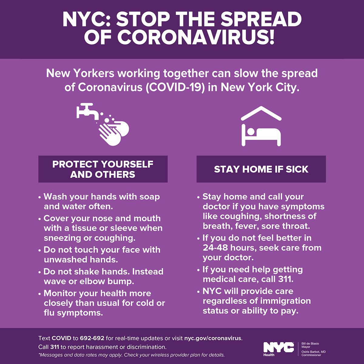 NYC Stop the spread of Coronavirus